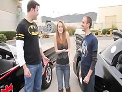 Two Dudes Try To Impress This Chick With Their Vintage Batmobile Racing Techniques