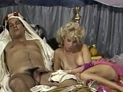 Blonde and brunette bitch pamper Arab prince