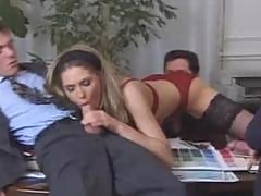 French Secretary Fucks her 3 Bosses!