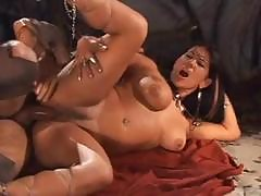 Two Scenes, Dark-haired Chick Gets Fucked By A Warrior And Another Gets Some Lezzie Action