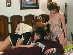 Asian maid sucks on masters cock