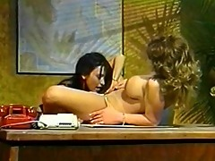 Two hot secretary get nasty while boss is out