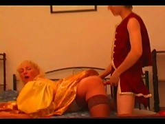 Retro mature lady with young lad