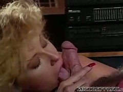 Classic mouth pounding with horny blonde cock sucking horny slut