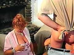 Threesome action with two mature women