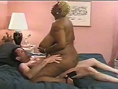 BLACK BBW WITH BIG BOOBS AND BLOND HAIR FUCKED BY WHITE MAN