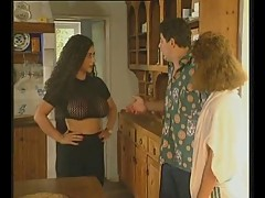Big boob TIZIANA REDFORD threesome in kitchen
